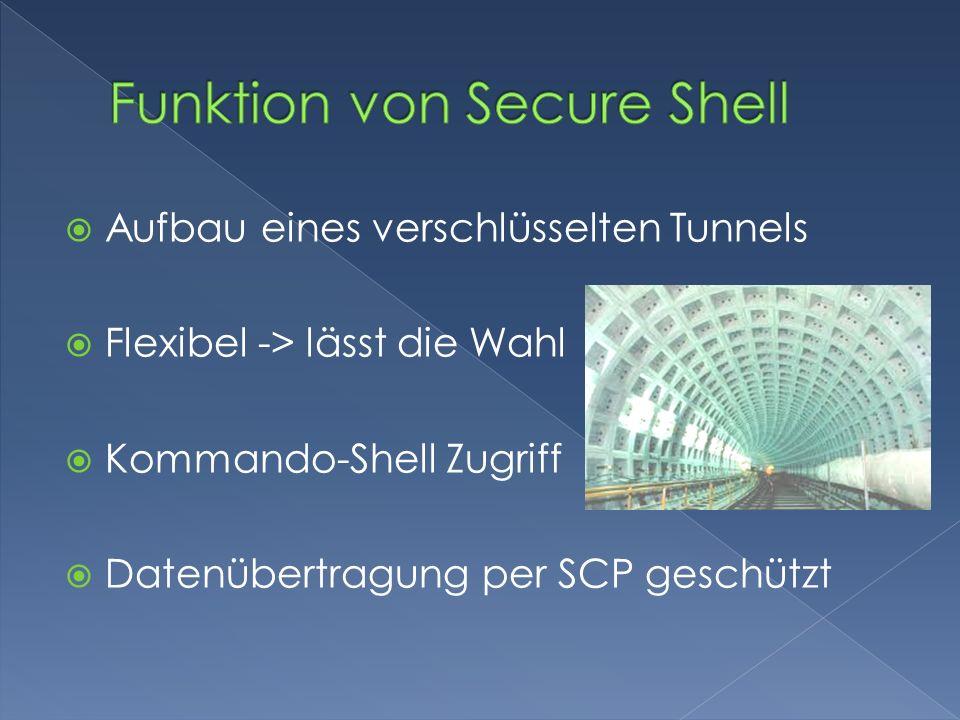 Aufbau eines verschlüsselten Tunnels Flexibel -> lässt die Wahl Kommando-Shell Zugriff Datenübertragung per SCP geschützt