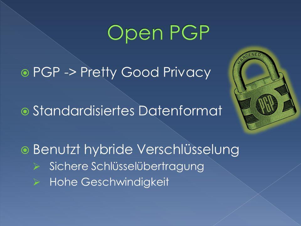 PGP -> Pretty Good Privacy Standardisiertes Datenformat Benutzt hybride Verschlüsselung Sichere Schlüsselübertragung Hohe Geschwindigkeit