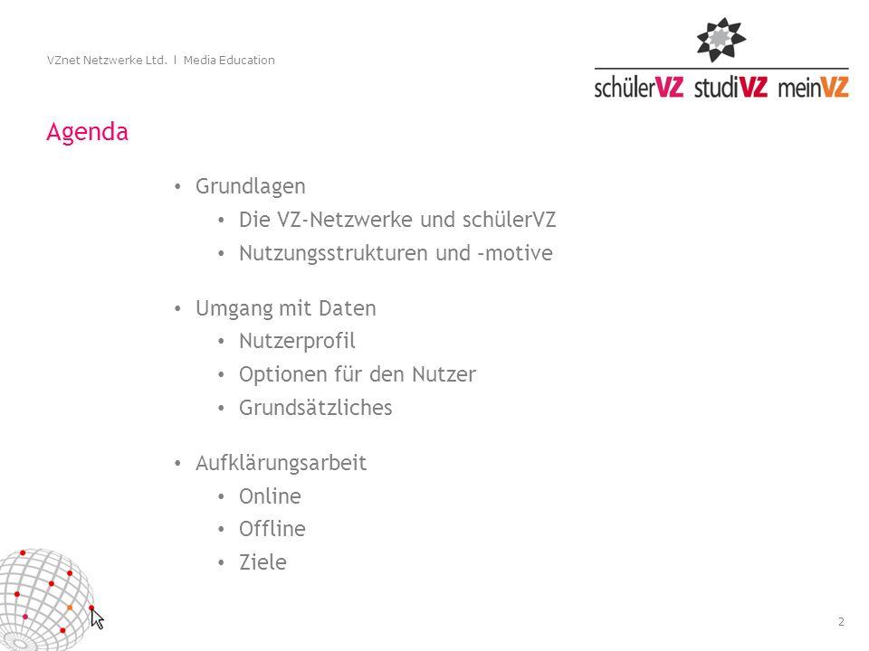 2 VZnet Netzwerke Ltd. l Media Education Agenda Grundlagen Die VZ-Netzwerke und schülerVZ Nutzungsstrukturen und –motive Umgang mit Daten Nutzerprofil