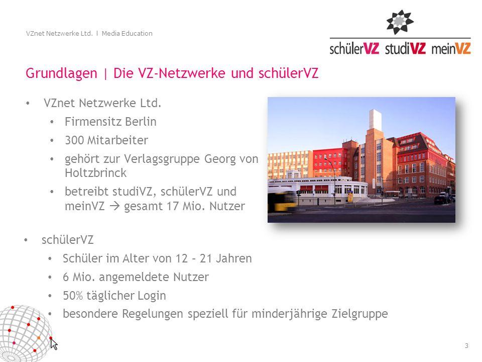 3 VZnet Netzwerke Ltd. l Media Education Grundlagen | Die VZ-Netzwerke und schülerVZ VZnet Netzwerke Ltd. Firmensitz Berlin 300 Mitarbeiter gehört zur