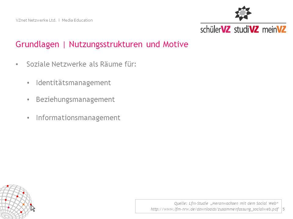 5 VZnet Netzwerke Ltd. l Media Education Grundlagen | Nutzungsstrukturen und Motive Soziale Netzwerke als Räume für: Quelle: LfM-Studie Heranwachsen m