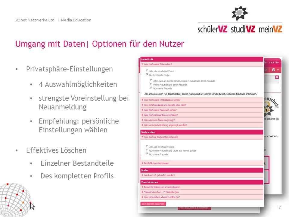7 VZnet Netzwerke Ltd. l Media Education Umgang mit Daten| Optionen für den Nutzer Privatsphäre-Einstellungen 4 Auswahlmöglichkeiten strengste Voreins