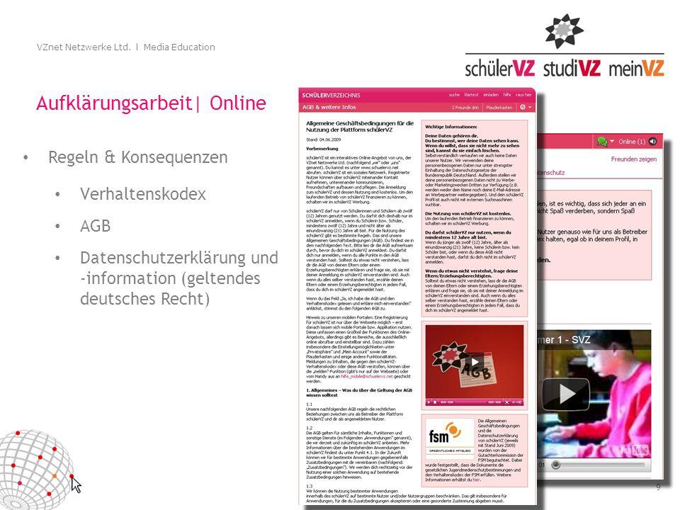9 VZnet Netzwerke Ltd. l Media Education Aufklärungsarbeit| Online Verhaltenskodex AGB Datenschutzerklärung und -information (geltendes deutsches Rech