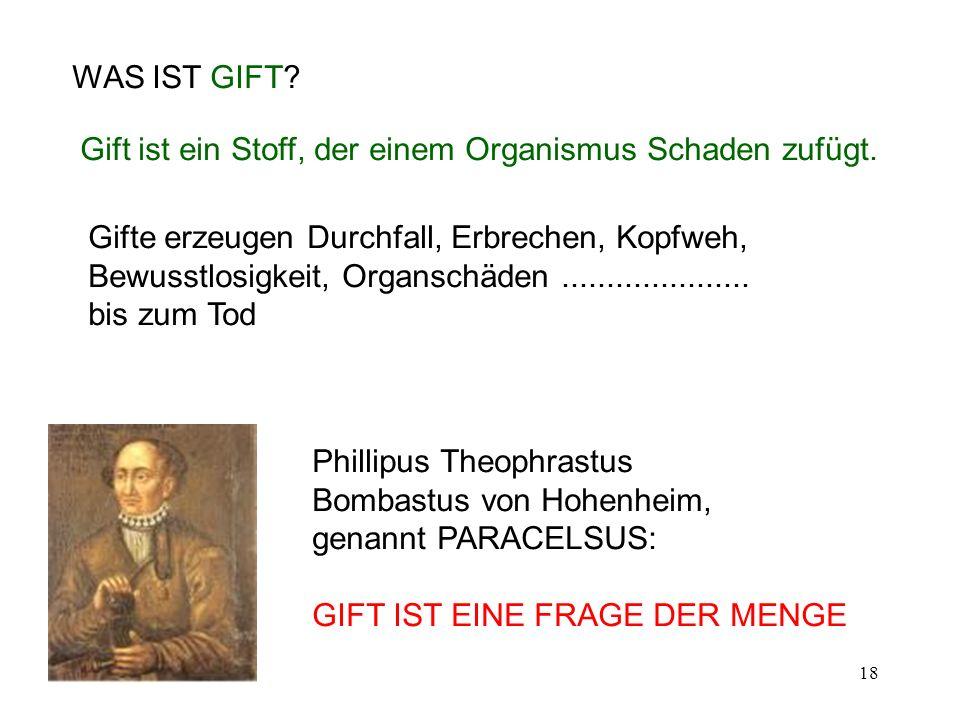 18 WAS IST GIFT? Phillipus Theophrastus Bombastus von Hohenheim, genannt PARACELSUS: GIFT IST EINE FRAGE DER MENGE Gift ist ein Stoff, der einem Organ