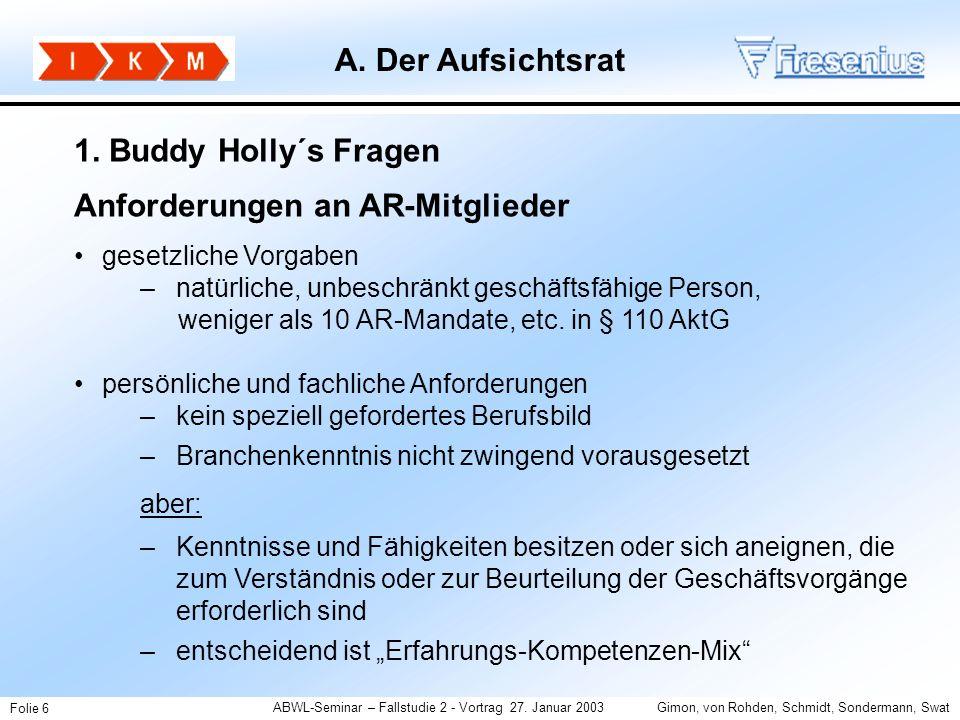 ABWL-Seminar – Fallstudie 2 - Vortrag 27. Januar 2003Gimon, von Rohden, Schmidt, Sondermann, Swat Folie 6 1. Buddy Holly´s Fragen Anforderungen an AR-