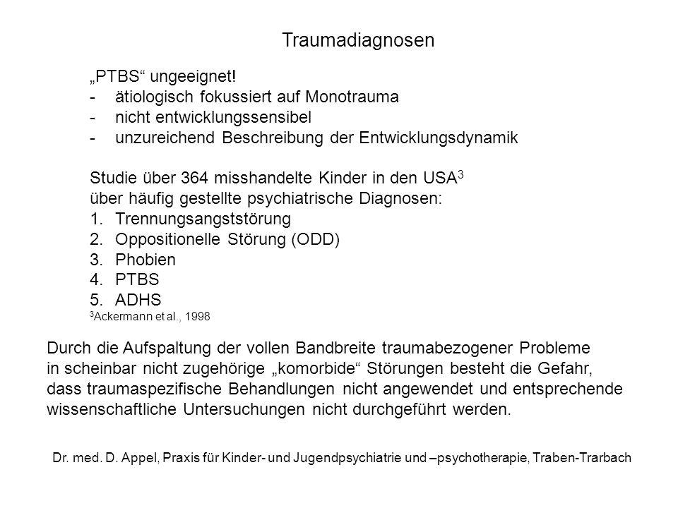 Dr. med. D. Appel, Praxis für Kinder- und Jugendpsychiatrie und –psychotherapie, Traben-Trarbach Traumadiagnosen PTBS ungeeignet! -ätiologisch fokussi
