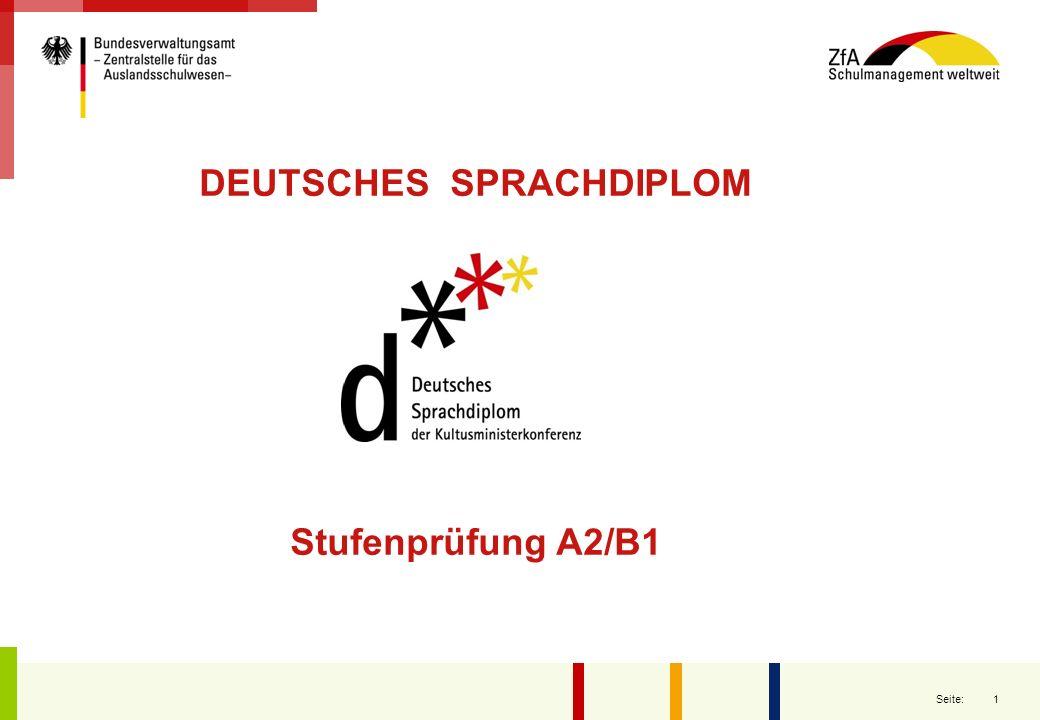 2 Seite: DSD A2/B1 in Frankreich: Konzeption und Zertifizierung:KMK Organisation und Bewertung:Education Nationale Ausbildung der Prüfer:Goethe- Institut http://www.education.gouv.fr/cid4066/remise-des-diplomes-de-certification-en-allemand-en-presence-de-peter-muller.html
