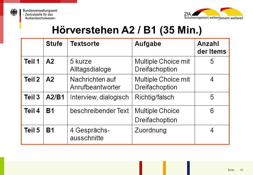 10 Seite: Hörverstehen A2 / B1 (35 Min.) StufeTextsorteAufgabeAnzahl der Items Teil 1A25 kurze Alltagsdialoge Multiple Choice mit Dreifachoption 5 Tei