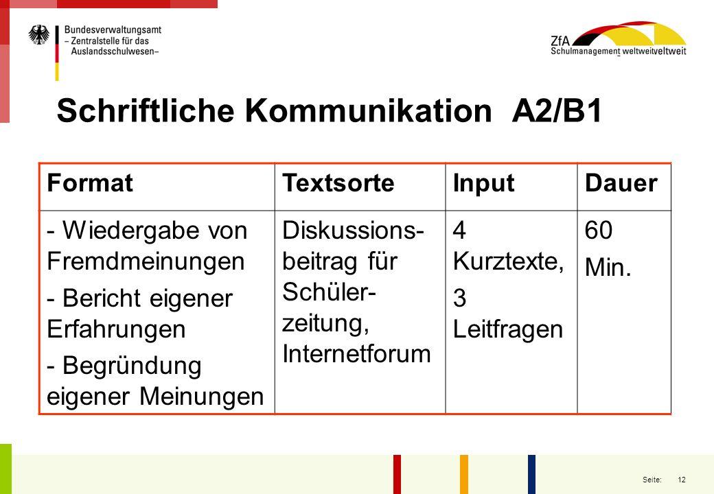 12 Seite: Schriftliche Kommunikation A2/B1 FormatTextsorteInputDauer - Wiedergabe von Fremdmeinungen - Bericht eigener Erfahrungen - Begründung eigene