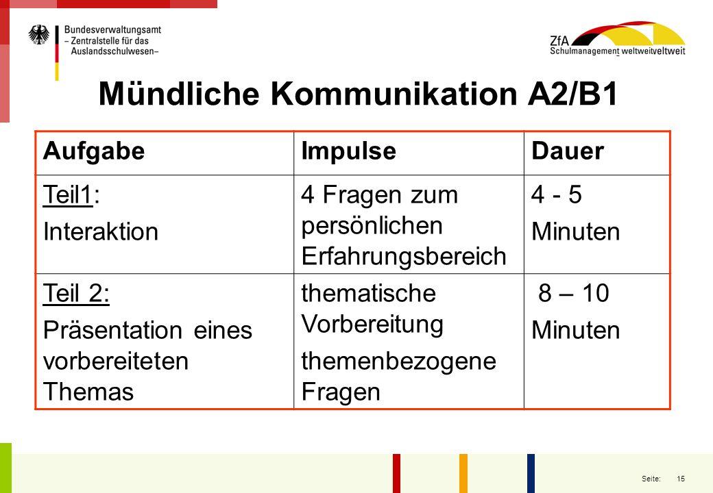 15 Seite: Mündliche Kommunikation A2/B1 AufgabeImpulseDauer Teil1: Interaktion 4 Fragen zum persönlichen Erfahrungsbereich 4 - 5 Minuten Teil 2: Präse