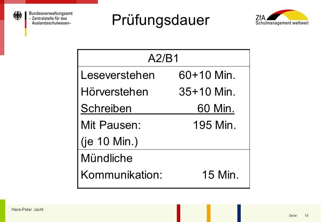 19 Seite: Prüfungsdauer Hans-Peter Jacht A2/B1 Leseverstehen 60+10 Min. Hörverstehen 35+10 Min. Schreiben 60 Min. Mit Pausen: 195 Min. (je 10 Min.) Mü