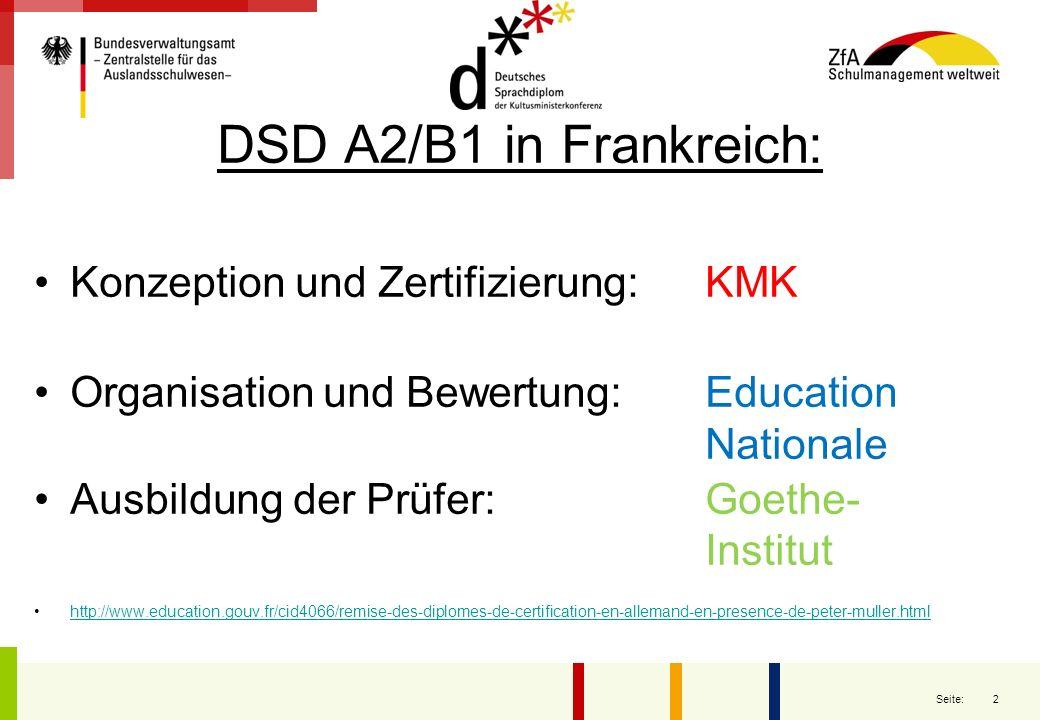 2 Seite: DSD A2/B1 in Frankreich: Konzeption und Zertifizierung:KMK Organisation und Bewertung:Education Nationale Ausbildung der Prüfer:Goethe- Insti
