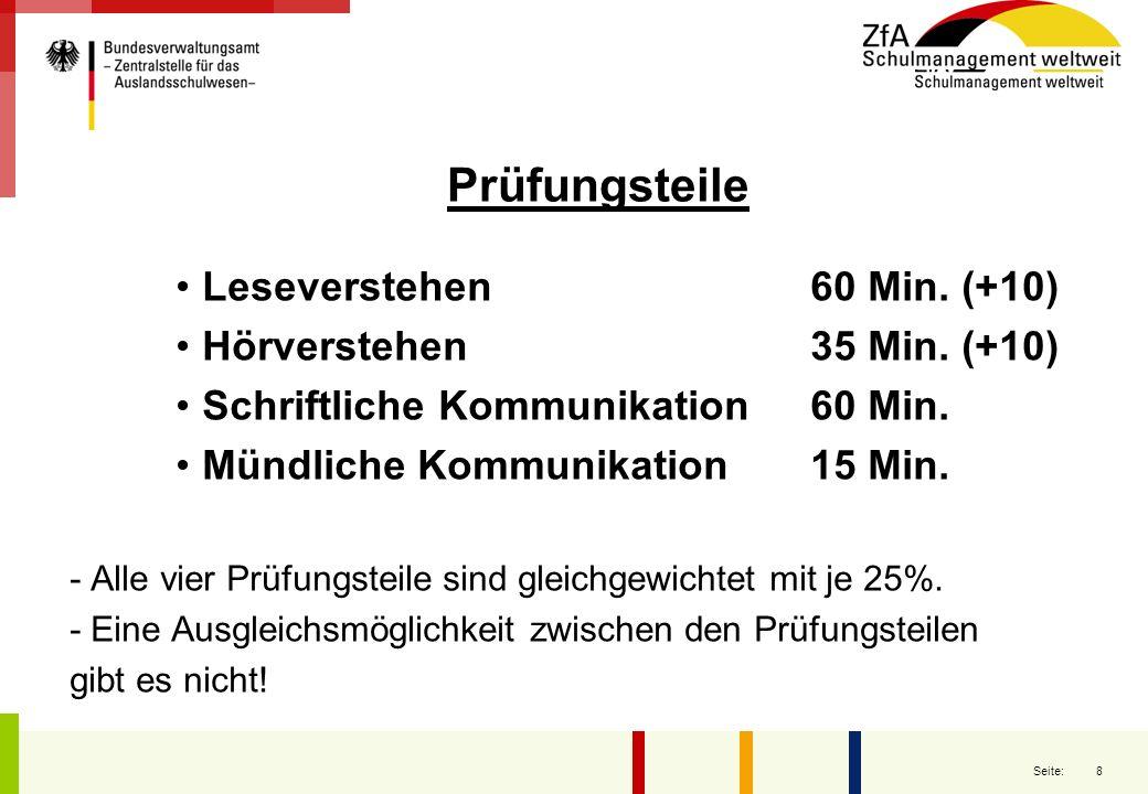 19 Seite: Prüfungsdauer Hans-Peter Jacht A2/B1 Leseverstehen 60+10 Min.