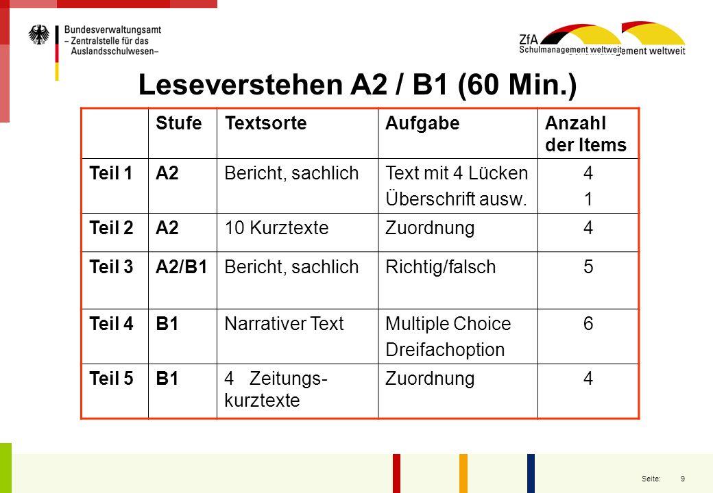20 Seite: Zertifizierung Deutsches Sprachdiplom der KMK Für jeden Prüfungsteil die Angabe des jeweils erreichten Niveaus Ist insgesamt das Niveau B1 erreicht, so wird das in einem Satz besonders vermerkt.