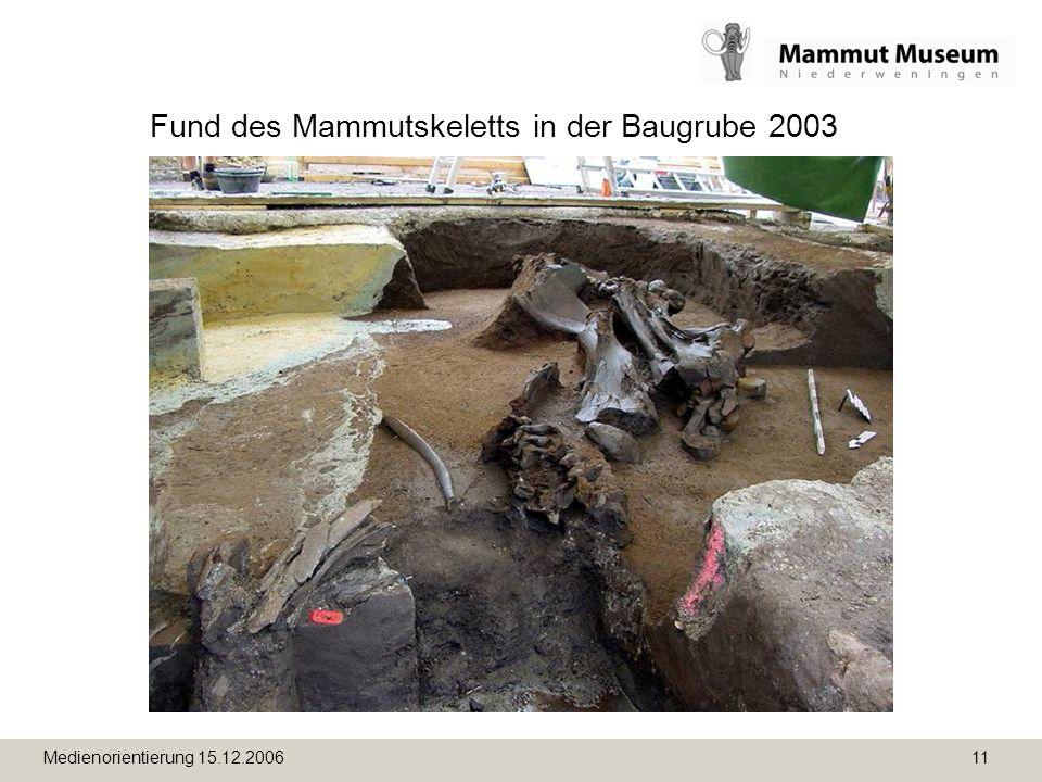 Medienorientierung 15.12.2006 11 Fund des Mammutskeletts in der Baugrube 2003