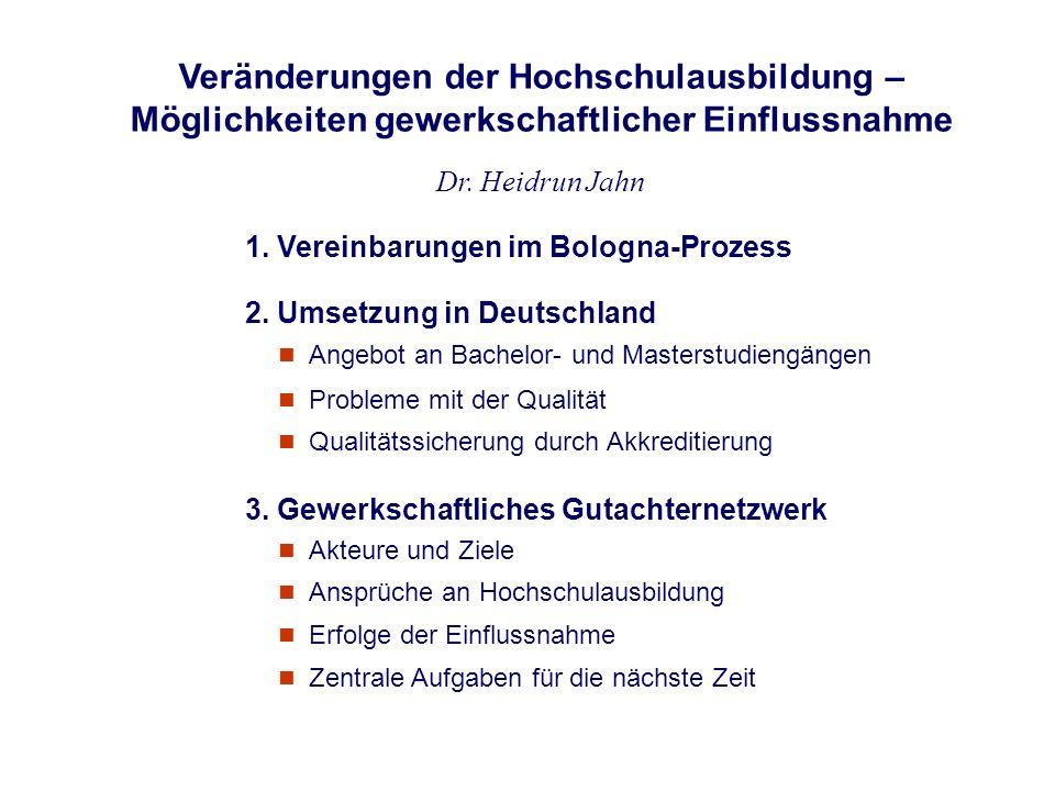 Veränderungen der Hochschulausbildung – Möglichkeiten gewerkschaftlicher Einflussnahme Dr. Heidrun Jahn n Probleme mit der Qualität 1. Vereinbarungen