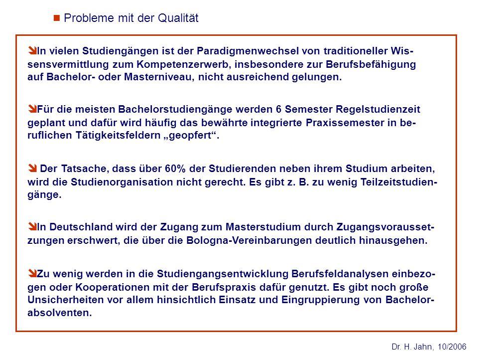 Dr. H. Jahn, 10/2006 In vielen Studiengängen ist der Paradigmenwechsel von traditioneller Wis- sensvermittlung zum Kompetenzerwerb, insbesondere zur B