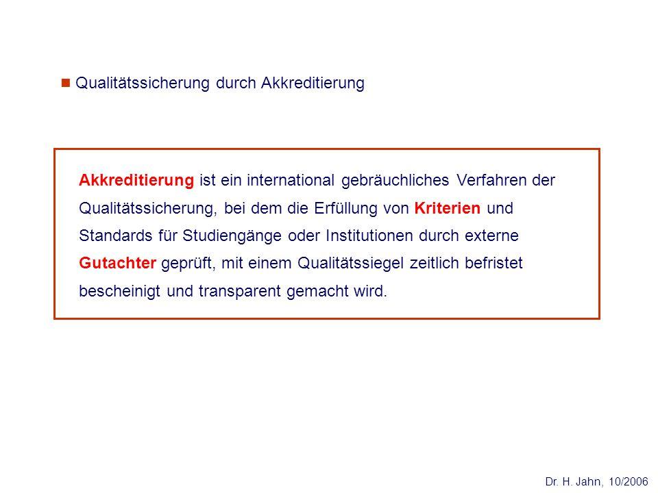 Dr. H. Jahn, 10/2006 Akkreditierung ist ein international gebräuchliches Verfahren der Qualitätssicherung, bei dem die Erfüllung von Kriterien und Sta