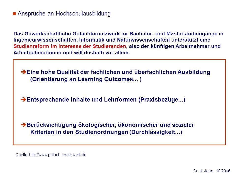 Dr. H. Jahn, 10/2006 Das Gewerkschaftliche Gutachternetzwerk für Bachelor- und Masterstudiengänge in Ingenieurwissenschaften, Informatik und Naturwiss