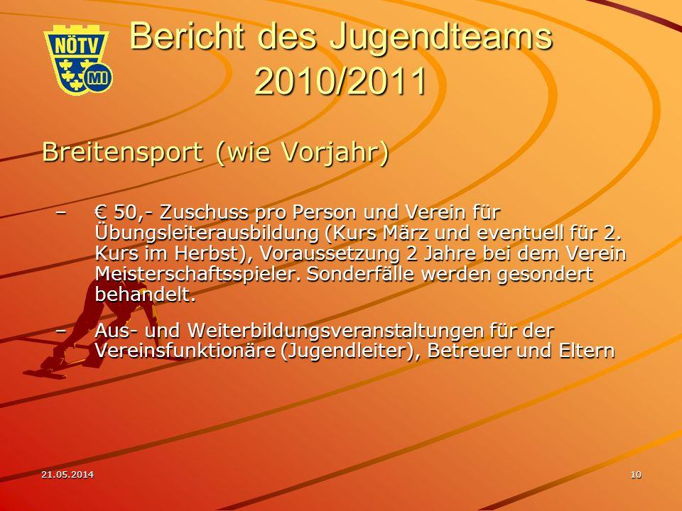 21.05.201410 Bericht des Jugendteams 2010/2011 Breitensport (wie Vorjahr) – 50,- Zuschuss pro Person und Verein für Übungsleiterausbildung (Kurs März