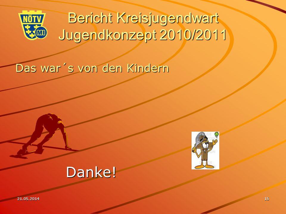 21.05.201415 Bericht Kreisjugendwart Jugendkonzept 2010/2011 Das war´s von den Kindern Danke!