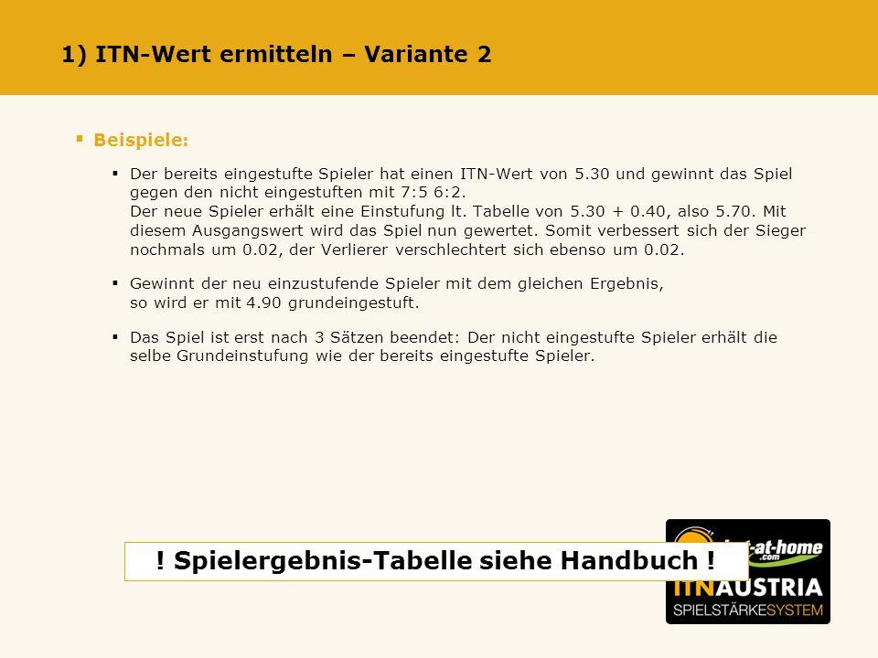 1) ITN-Wert ermitteln – Variante 2 Beispiele: Der bereits eingestufte Spieler hat einen ITN-Wert von 5.30 und gewinnt das Spiel gegen den nicht eingestuften mit 7:5 6:2.