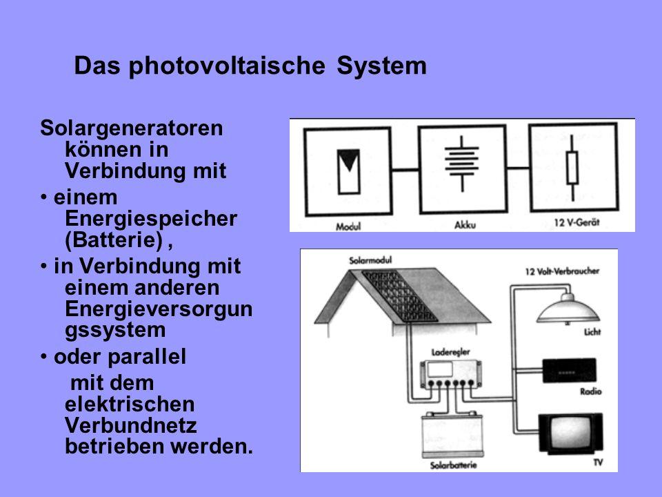 Das photovoltaische System Solargeneratoren können in Verbindung mit einem Energiespeicher (Batterie), in Verbindung mit einem anderen Energieversorgu
