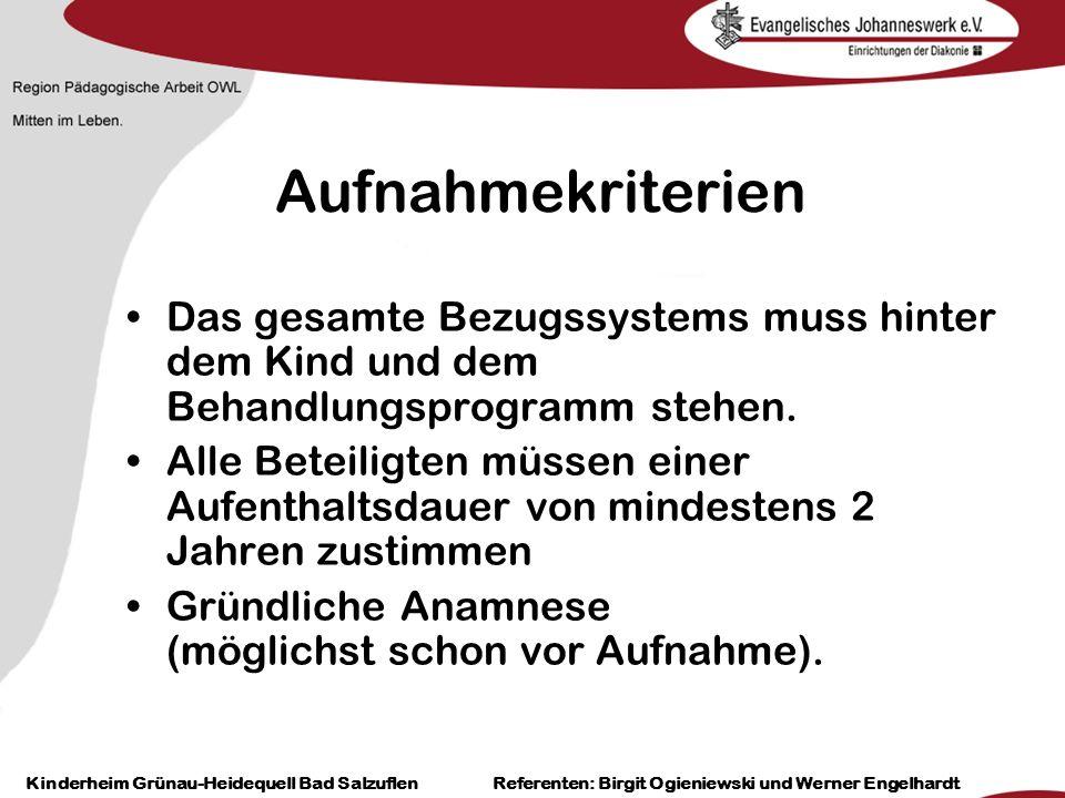 Heilpädagogisch- therapeutische Einrichtungen Grünau-Heidequell Bad Salzuflen Birgit Ogieniewski Aufnahmekriterien Das gesamte Bezugssystems muss hint