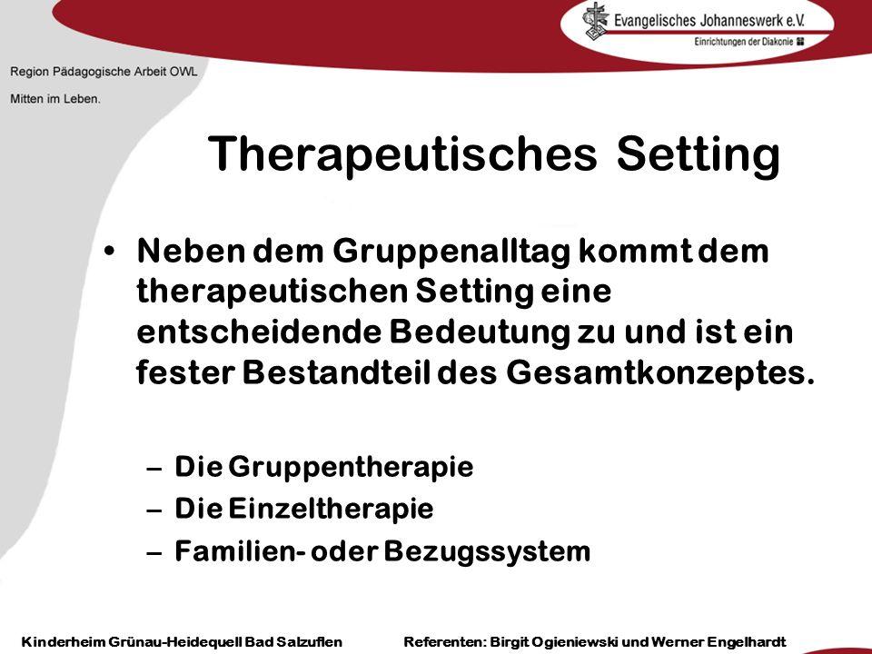 Heilpädagogisch- therapeutische Einrichtungen Grünau-Heidequell Bad Salzuflen Birgit Ogieniewski Therapeutisches Setting Neben dem Gruppenalltag kommt