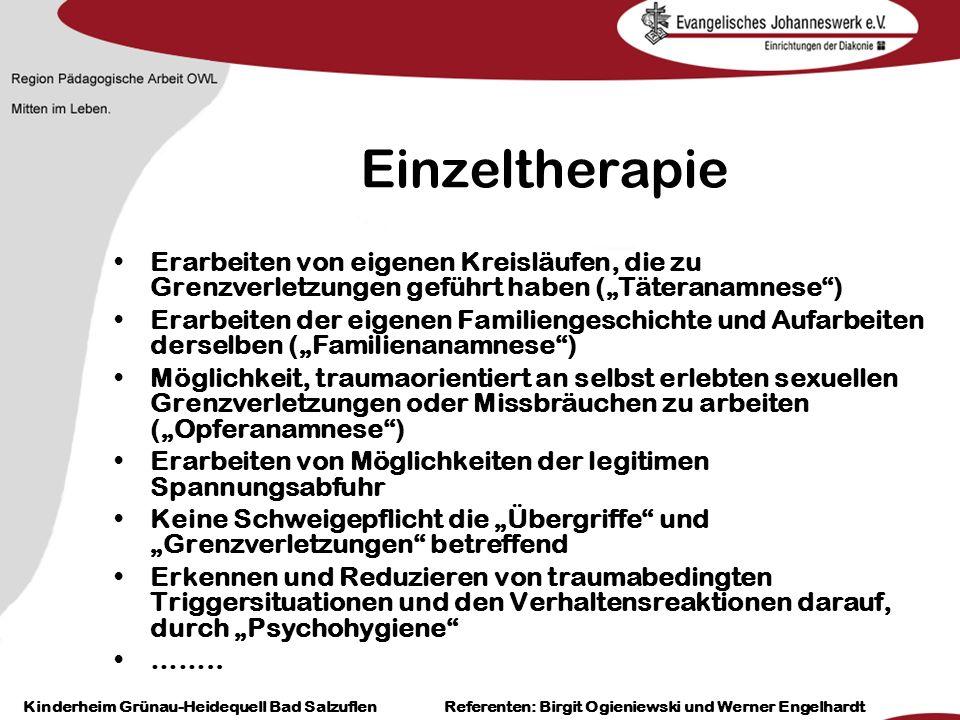 Heilpädagogisch- therapeutische Einrichtungen Grünau-Heidequell Bad Salzuflen Birgit Ogieniewski Einzeltherapie Erarbeiten von eigenen Kreisläufen, di