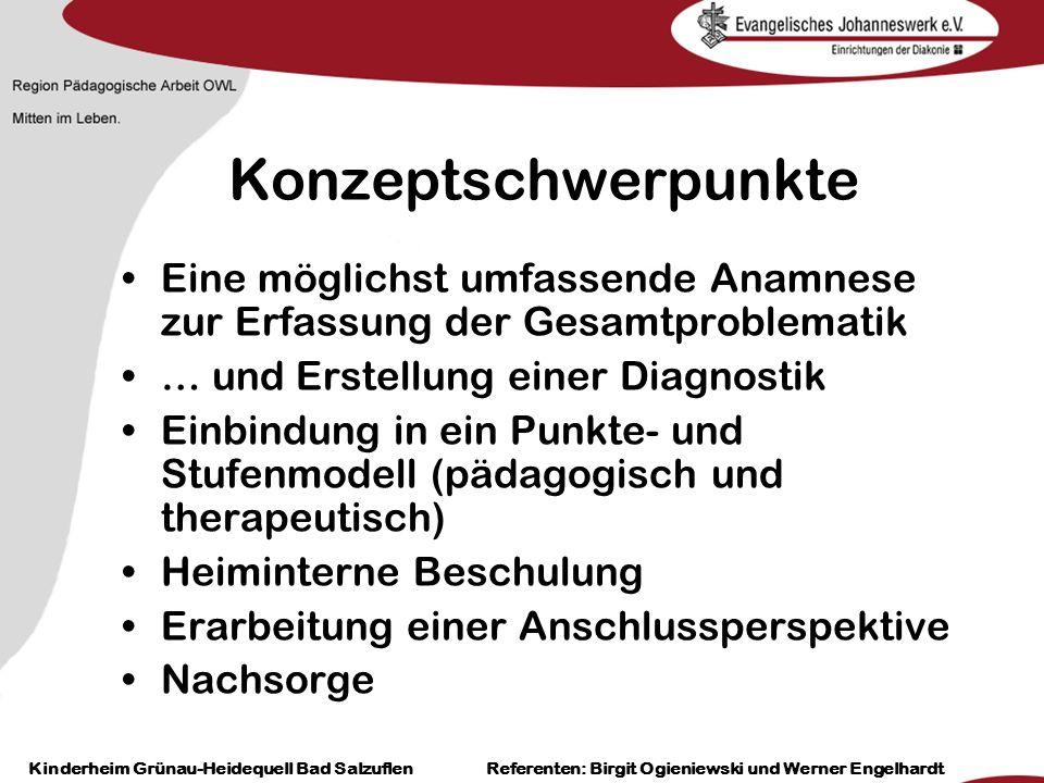Heilpädagogisch- therapeutische Einrichtungen Grünau-Heidequell Bad Salzuflen Birgit Ogieniewski Konzeptschwerpunkte Eine möglichst umfassende Anamnes