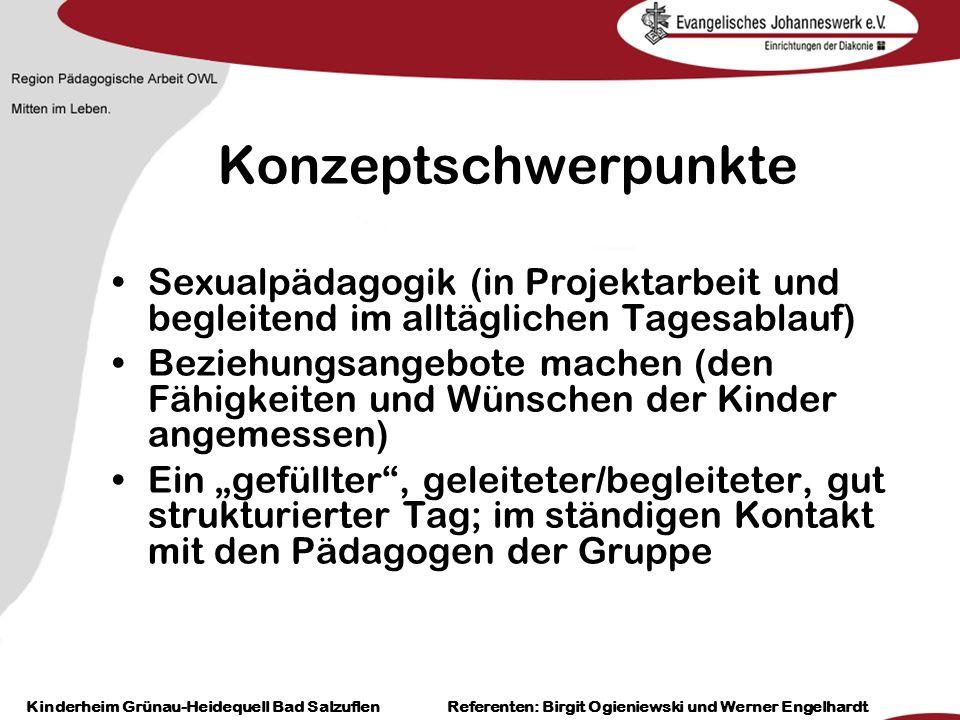 Heilpädagogisch- therapeutische Einrichtungen Grünau-Heidequell Bad Salzuflen Birgit Ogieniewski Konzeptschwerpunkte Sexualpädagogik (in Projektarbeit