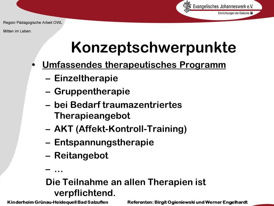 Heilpädagogisch- therapeutische Einrichtungen Grünau-Heidequell Bad Salzuflen Birgit Ogieniewski Konzeptschwerpunkte Umfassendes therapeutisches Progr