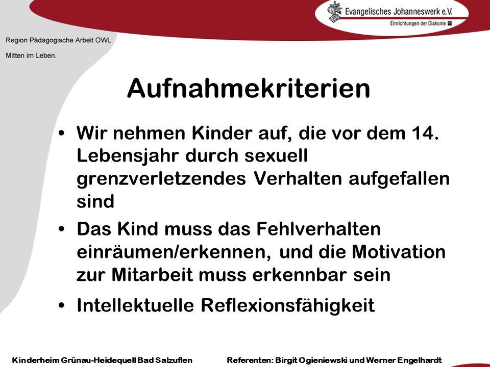 Heilpädagogisch- therapeutische Einrichtungen Grünau-Heidequell Bad Salzuflen Birgit Ogieniewski Aufnahmekriterien Das gesamte Bezugssystems muss hinter dem Kind und dem Behandlungsprogramm stehen.
