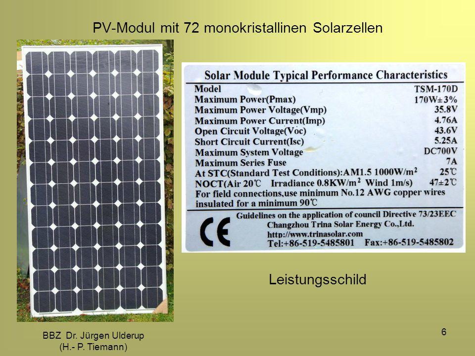 BBZ Dr. Jürgen Ulderup (H.- P. Tiemann) 6 PV-Modul mit 72 monokristallinen Solarzellen Leistungsschild