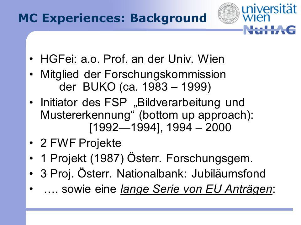 MC Experiences: Background HGFei: a.o. Prof. an der Univ. Wien Mitglied der Forschungskommission der BUKO (ca. 1983 – 1999) Initiator des FSP Bildvera