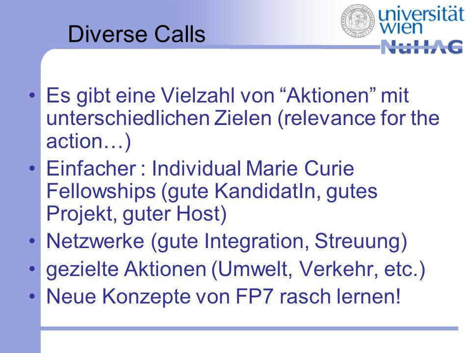 Diverse Calls Es gibt eine Vielzahl von Aktionen mit unterschiedlichen Zielen (relevance for the action…) Einfacher : Individual Marie Curie Fellowshi