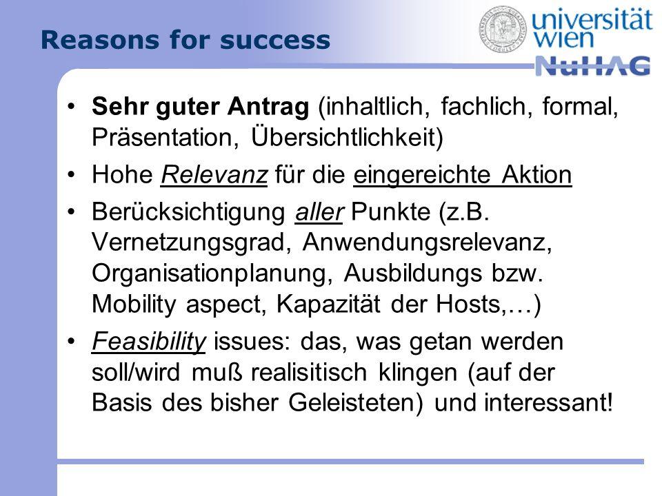 Reasons for success Sehr guter Antrag (inhaltlich, fachlich, formal, Präsentation, Übersichtlichkeit) Hohe Relevanz für die eingereichte Aktion Berück