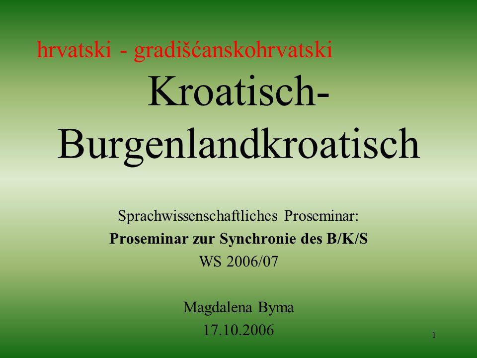 1 Kroatisch- Burgenlandkroatisch Sprachwissenschaftliches Proseminar: Proseminar zur Synchronie des B/K/S WS 2006/07 Magdalena Byma 17.10.2006 hrvatsk