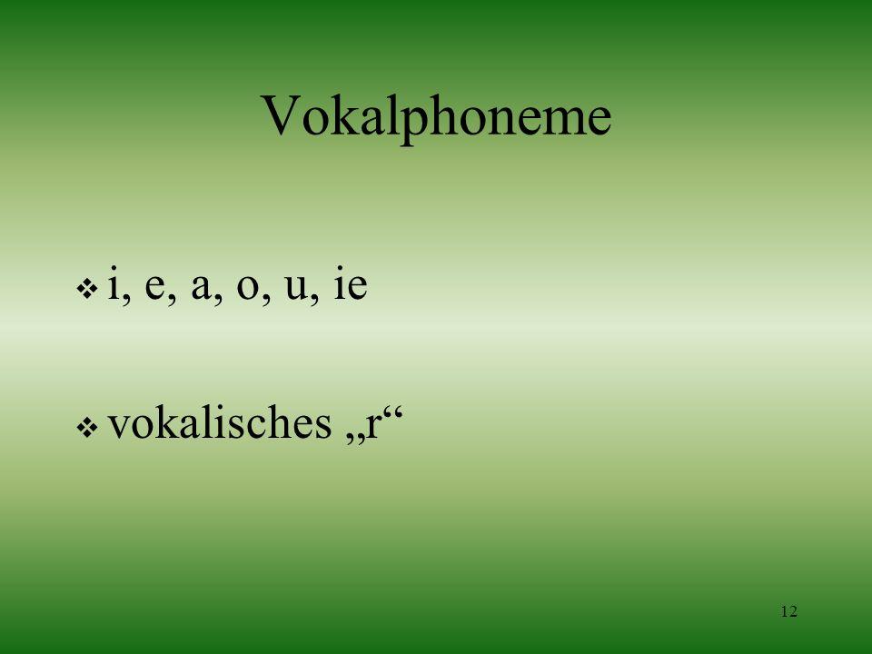 12 Vokalphoneme i, e, a, o, u, ie vokalisches r