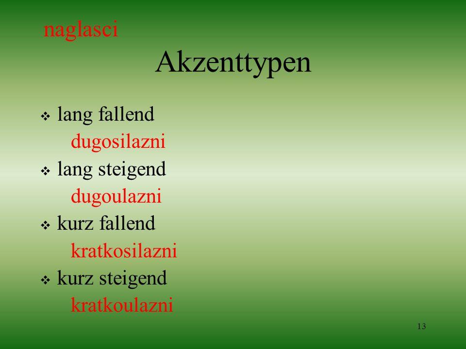 13 Akzenttypen lang fallend dugosilazni lang steigend dugoulazni kurz fallend kratkosilazni kurz steigend kratkoulazni naglasci
