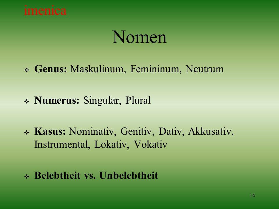 16 Nomen Genus: Maskulinum, Femininum, Neutrum Numerus: Singular, Plural Kasus: Nominativ, Genitiv, Dativ, Akkusativ, Instrumental, Lokativ, Vokativ B