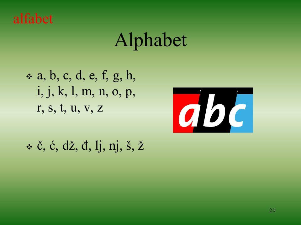 20 Alphabet a, b, c, d, e, f, g, h, i, j, k, l, m, n, o, p, r, s, t, u, v, z č, ć, dž, đ, lj, nj, š, ž alfabet
