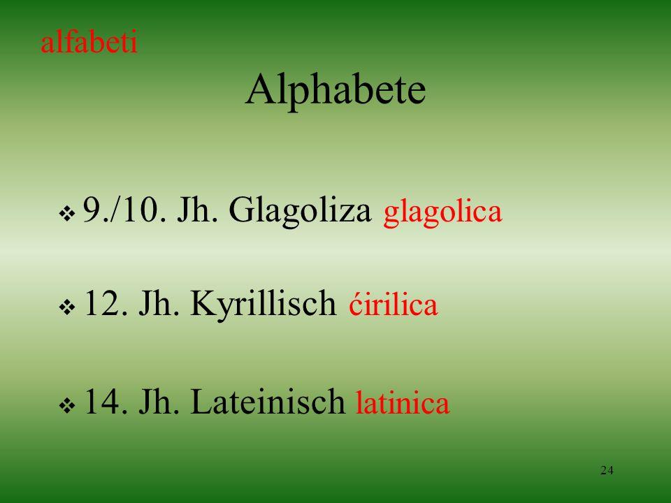 24 Alphabete 9./10. Jh. Glagoliza glagolica 12. Jh. Kyrillisch ćirilica 14. Jh. Lateinisch latinica alfabeti