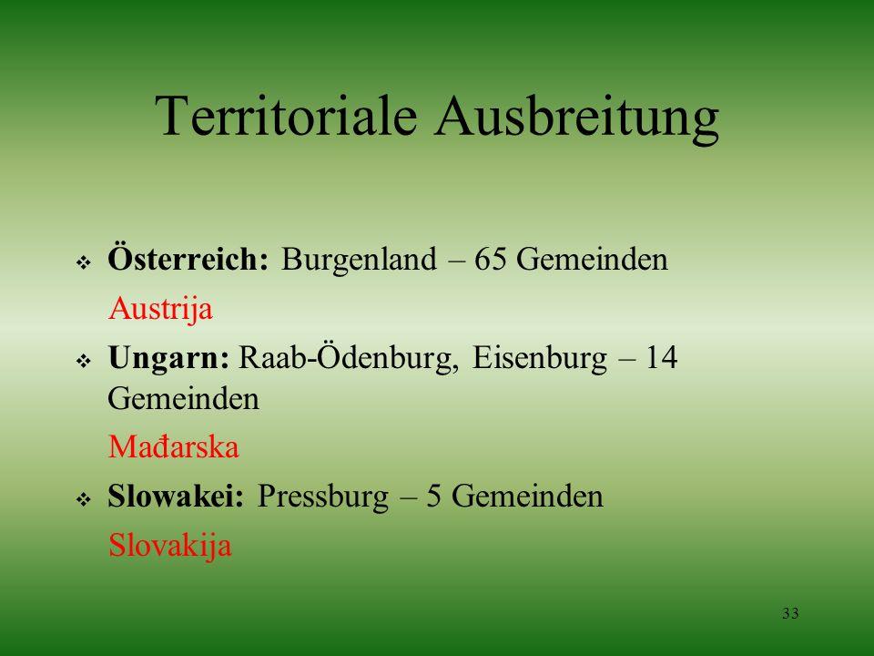 33 Territoriale Ausbreitung Österreich: Burgenland – 65 Gemeinden Austrija Ungarn: Raab-Ödenburg, Eisenburg – 14 Gemeinden Mađarska Slowakei: Pressbur