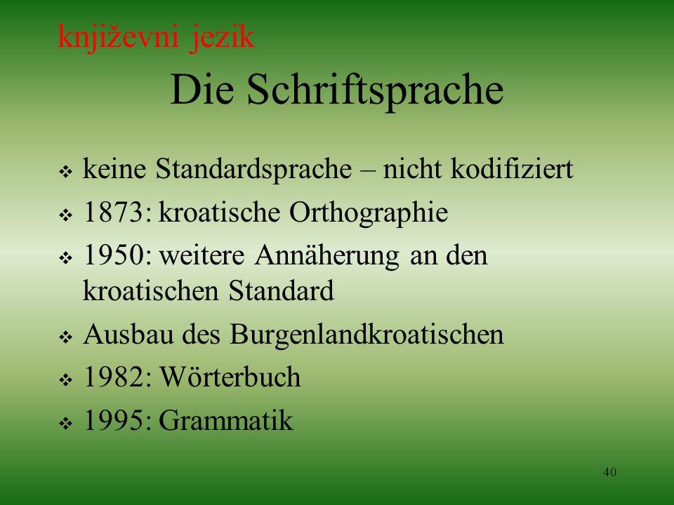 40 Die Schriftsprache keine Standardsprache – nicht kodifiziert 1873: kroatische Orthographie 1950: weitere Annäherung an den kroatischen Standard Aus