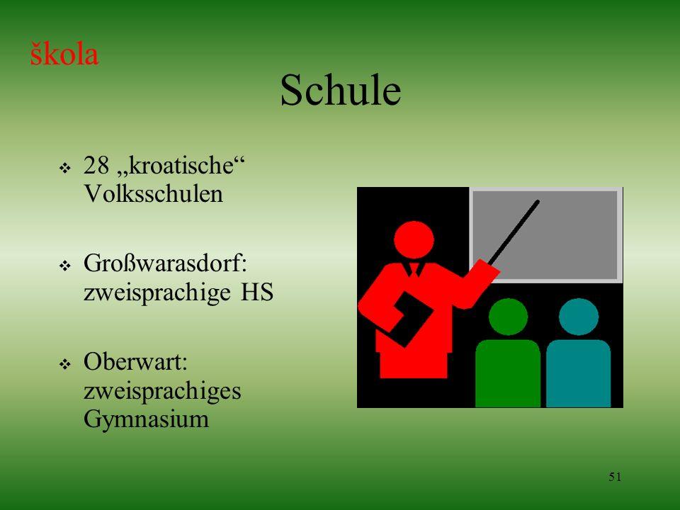 51 Schule 28 kroatische Volksschulen Großwarasdorf: zweisprachige HS Oberwart: zweisprachiges Gymnasium škola