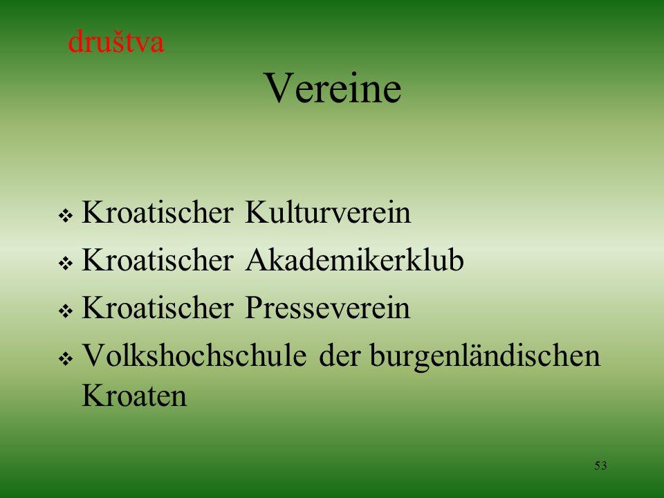 53 Vereine Kroatischer Kulturverein Kroatischer Akademikerklub Kroatischer Presseverein Volkshochschule der burgenländischen Kroaten društva