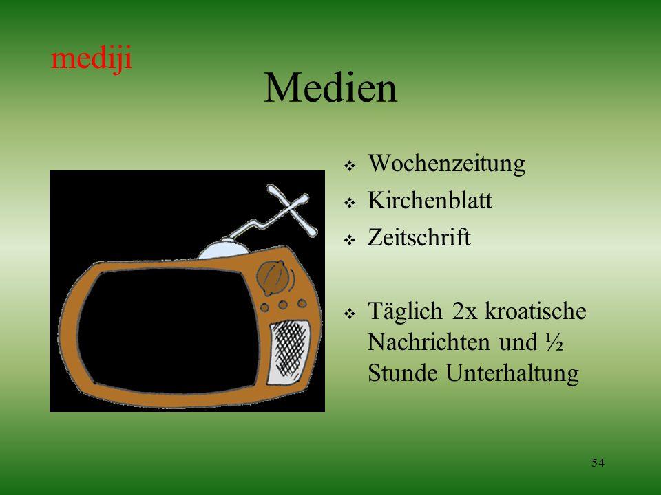 54 Medien Wochenzeitung Kirchenblatt Zeitschrift Täglich 2x kroatische Nachrichten und ½ Stunde Unterhaltung mediji