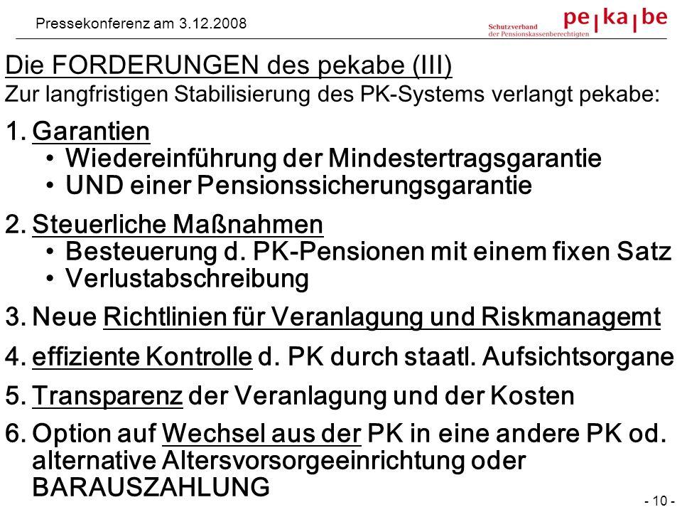 Die FORDERUNGEN des pekabe (III) Zur langfristigen Stabilisierung des PK-Systems verlangt pekabe: 1.Garantien Wiedereinführung der Mindestertragsgarantie UND einer Pensionssicherungsgarantie 2.Steuerliche Maßnahmen Besteuerung d.